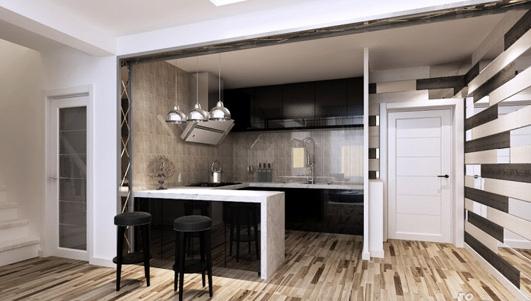 怎样让开放式厨房吧台有新意又好看